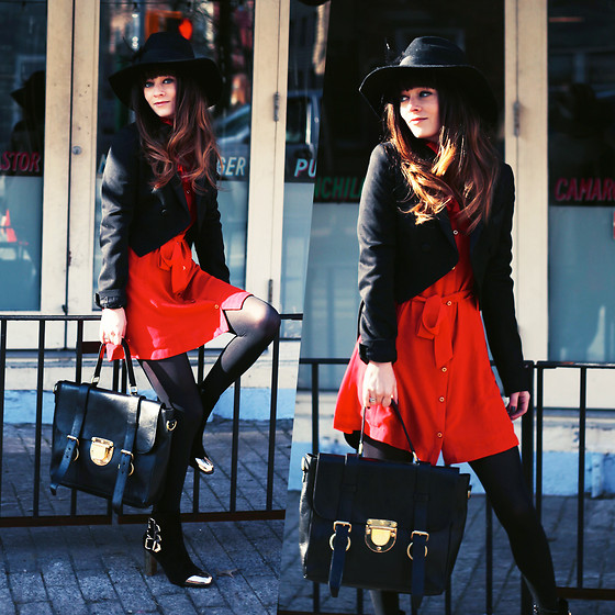 Rachel-Marie Iwanyszyn - Feather Hat, All Saints Tailcoat, Sheinside Red Chiffon Dress, W Concept Leather Bag, Choies Gold Capped Suede Heels, Http://Www.Jaglever.Com - BROOKLYN LOVE.