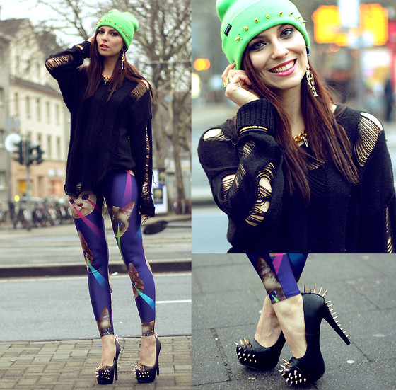 Masha Sedgwick - Romwe Jumper, Leggings, Necklace, Diy Beanie - CRAZY CATWANG