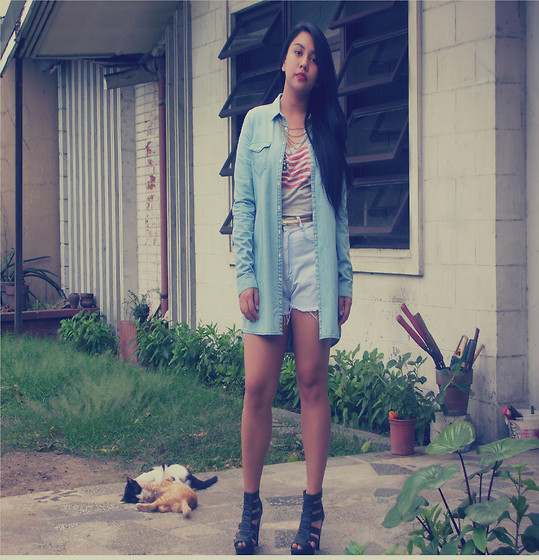 Bea Harpst - Giordano Button Down Chambray Top, Gap Tank Top - Denim On Denim Part II