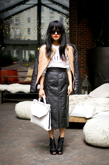 Olivia Lopez - Alexander Wang Sunglasses, Vintage Leather Skirt, Bcbg Leather Briefcase - NYFW Day 1