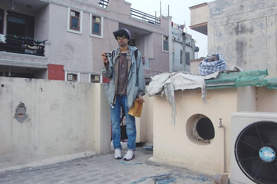 Nikhil D - Nike Beanie, Blur Sunglasses, The Bungalow Backpack, Bombay Street Shirt, Mango Mesh Knit, Zara Bowie Tee, Bhane Jeans, Puma Running Shoes - They want to make everything flat.