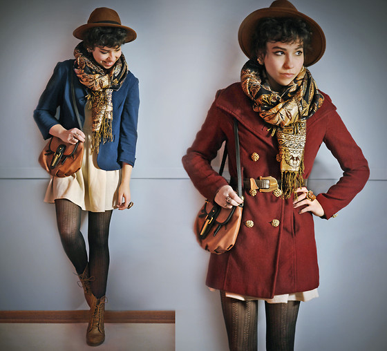 Sophia Mayrhofer - H&M Hat, Fleamarket In Rome Printed Scarf, Thrifted Unstructured Blazer, Urban Outfitters Spiked Bag, Cub L Cream Colored Dress, Annex $1 Sale Herringbone Tights, Osco Lace Up Boots, Diy Gold Buttoned Coat, Thrifted Statement Belt - Make more opportunities than you find