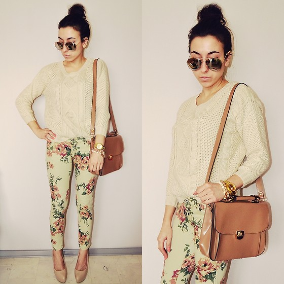 Pam S - Pants, Bag, Glasses - Floral pants