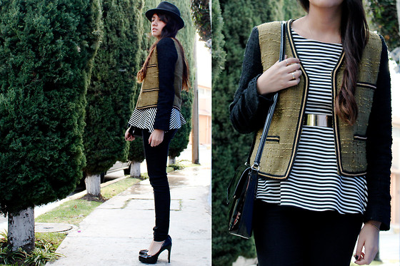 Jennifer Aranda - Mango Patchwork Blazer, Zara Striped Peplum Shirt, Zara Man Hat, Zara Golden Belt - Olive