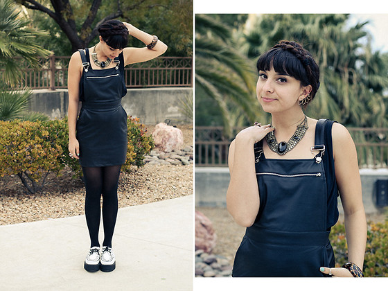 Chanelle L.™ - Lulu's Vegan Leather Jumper, T.U.K. Creepers, By Boe Earring/Cuff - MAGIC Day 1