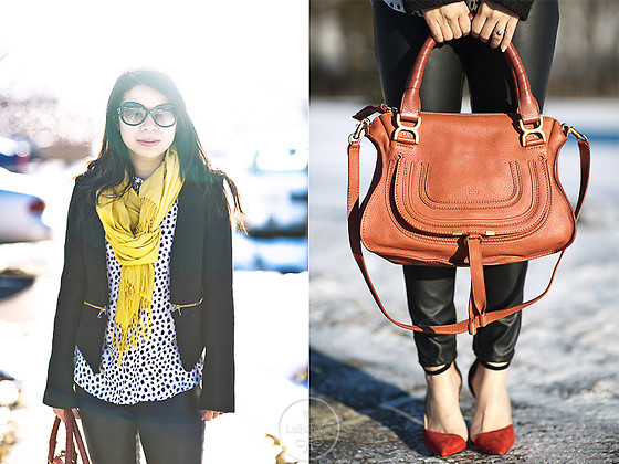 Melanie Y - Worn Abroad Blazer, Uniqlo Scarf, H&M Blouse, Chloé Sunnies, Chloé Marcie Bag, Zara Colorblock Heels - Canary & Maple Leaf