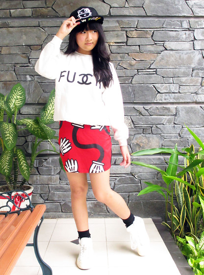 Veren Lee - New Era X Hello Kitty Snapback, Sheinside Fu Double Ck Sweatshirt, Lazy Oaf Spaghetti Arms Skirt - FU DOUBLE CK