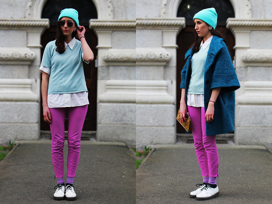 Melissa May Maria McDermott - H&M Pastel Beanie, 9crowstreet Pink Sunglasses, Vintage White Shirt, 9crowstreet Sparkly Vintage Top, Sparkle And Fade Pink Pants, Dr. Martens Patent White Dr.Martens - Lighten up