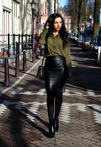 Farah E - Kenzaa Blouse, Mango Skirt - Military Chic