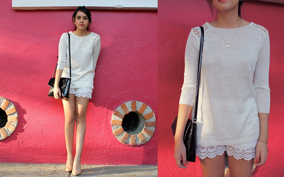 Jennifer Aranda - Zara Crochet Sweater, Zara Crochet Shorts, Prada Heels - All in white