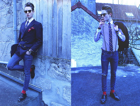 Scott Terral Downey Ѧ - H&M Shirt, American Eagle Tie, April 77 Jean, Vintage Vest, Ray Ban Sunglasses, Bexley Shoes, Scotch & Soda Braces - Old School  (Instagram: ScottTdowney)