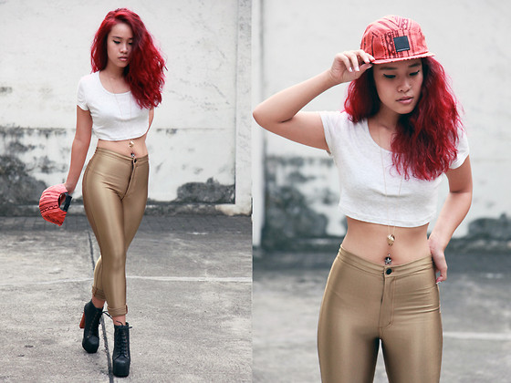 Nün Stannard - Wesc Cap, Topshop Top, American Apparel Disco Pants, Topshop Necklace, Jeffrey Campbell Booties - Golden Girl