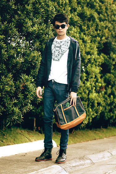 Mikyle Quizon - Wade Shoes Leather Boots, Sm Accessories Leather Bag, Blue Jacket. - Save the world