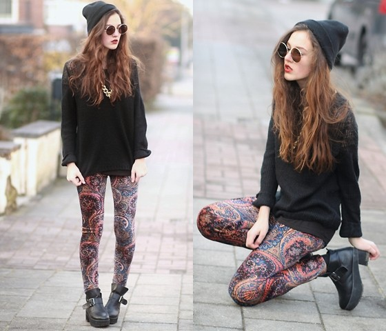 E V - The Editor's Market Sweater, Sheinside Leggings - MAROONED
