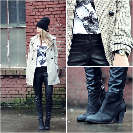Herz über Kopf - Monki T Shirt, Asos Watch, H&M Coat, H&M Leather Pant, Vagabond Pistols - CatLover