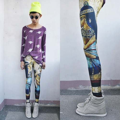 Jeroy Balmores - Black Milk Clothing Leggings, Topshop Sneakers Wedges, Rebel Gear Beanie - UFO