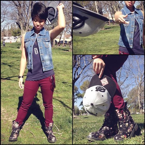 Sassy Cuna - Avengers Snapback, Thread & Supply Denim Vest, American Eagle Blue Spag Strap Top, T&Y Fashion Burgundy Jeans, Diva Lounge Litas Floral Boots - Swagger On
