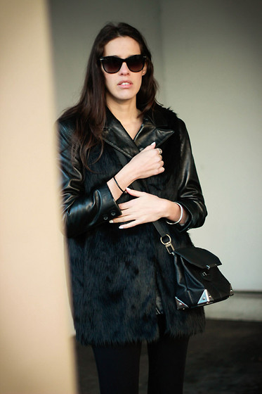 Melissa Araujo - Club Monaco Sunnies, Vintage Leather Jacket, H&M Fur Vest, Alexander Wang Marion Bag, Splendid Leggings - Anatomy of Leather and Fur