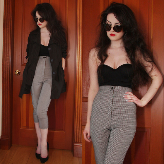 Abbey - Chicnova Sunglasses, Marilyn Monroe Intimates Black Bodysuit, Thrift Shop Dogtooth Trousers, ??? Black Trench, Steve Madden Black Heels - It's best not to mention you're craving for attention