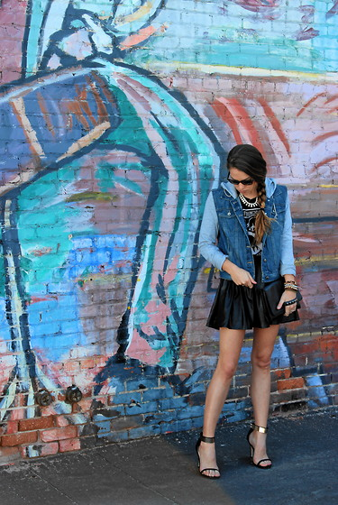Nicole C - Brandy Melville Usa Tank, Love21 Denim Combo Jacket, Hearts And Bows Leather Skirt, Asos Metallic Strapped Sandals - Graffiti Chic