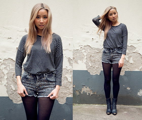 Deyu . - Pull & Bear Shorts, Jeffrey Campbell Boots - Studs ans stripes