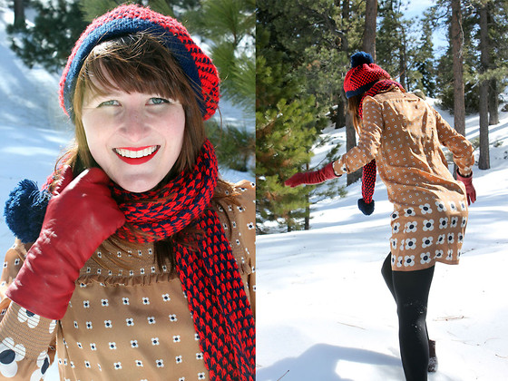 Jamie Shields - Mademoiselle Tara Dress, Vintage Hat + Scarf, Bloomingdales Gloves - Snow Bunny