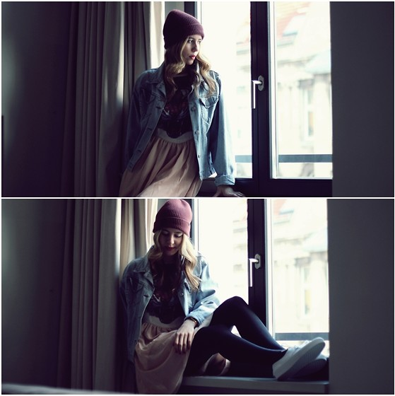 Herz über Kopf - Nixon Beanie, Vintage Jacket, Vans Sneaker, Dorothy Perkins Dress - Thinking of...