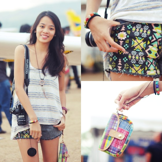 Lui O. - Forever 21 Striped Sleeveless Top, Bubbles Aztec Shorts, Dooney And Bourke Colorful Purse - Up, Up and Away!
