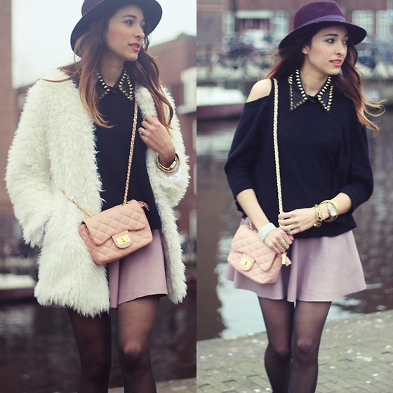 Virgit Canaz - Viparo Leathetr Skirt, Joa+Closet Cut Out Sweater, Chic Wish Faux Fur Coat - Collar Spikes
