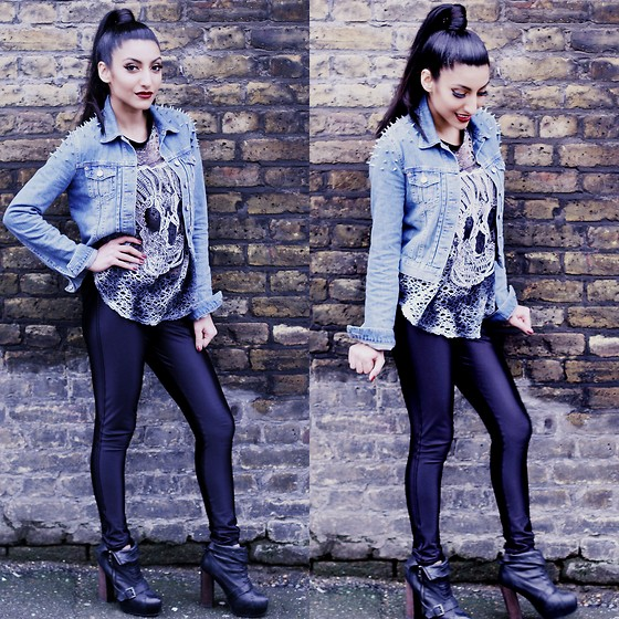 Shay Mirza - Topshop Studded Denim Jacket, American Apparel Disco Pants, Bullfrogs Crotchet Skull Top, Topshop Shoe Boots - Colour me Gothic..