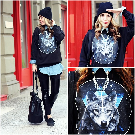 Herz über Kopf - Gossengold Sweater, H&M Shoes, H&M Bag - Wolf and Universe