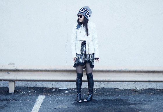 Tessa M - Alexander Wang Jacket, Anna Sui Dress, Sigerson Morrison Boots, Marc By Jacobs Beanie - Hard metal