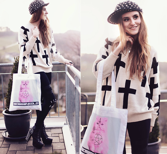Jessica Christ - Black Union Spiked Cap, Ianywear Cross Pattern Sweater, Gossengold Evil Cat Tote Bag, Spiked Leggings - The key to failure is tyring to please everyone. (GIVEAWAY!)