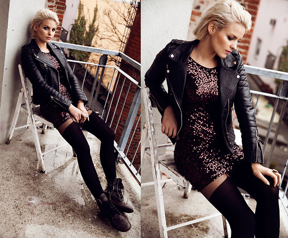 La Leonella - Boda Skins Leather Jacket, Copo De Nieve Leather Boots, M By Glitter Dress - Never give up! Stay strong!