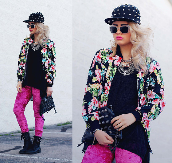 Bebe Zeva - Romwe Spiked Snapback, Yes Style Hibiscus Print Bomber Jacket, Romwe Fuchsia Velvet Leggings, Tusc Boutique Sid Vicious Boots, This Is Transition Cone Studded Leather Bag - HIBITCHSCUS