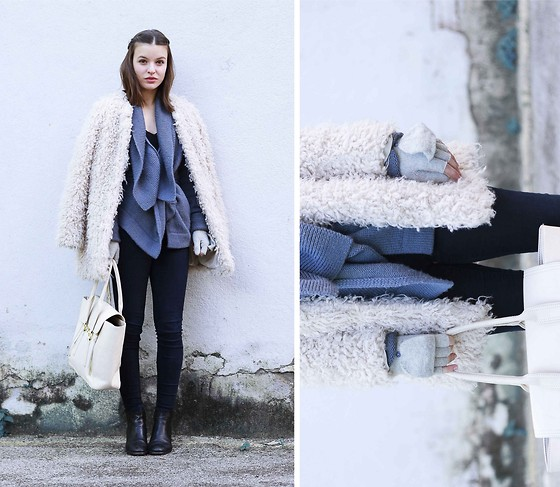 Mariana Soares Branco - Zara Fur Coat, Etxart&Panno Knitwear, Zara Black Pants, Etxart&Panno Boots, Nowistyle White Bag - Winter blues