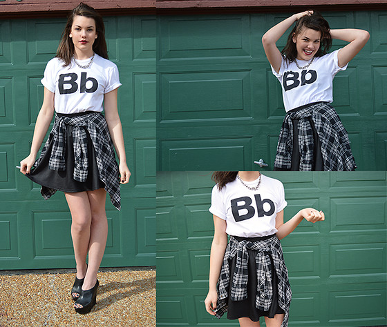 Katie G - American Apparel Helvetica Tshirt, Thrifted Skater Skirt, Steve Madden Wiicked Wedged - What You Did In The Dark