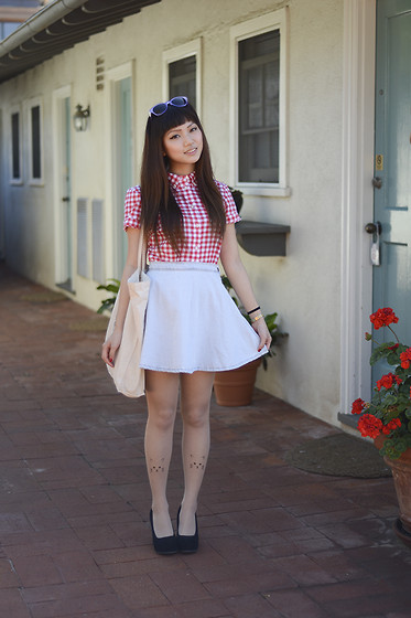 Rae Tilly - Fred Perry Top, American Apparel Skirt, Beyond Retro Tote, Aldo Wedges, Oasap Kitty Tights - Gingham and sun