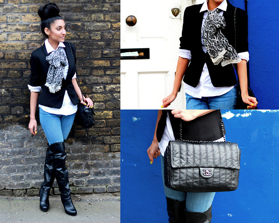 Shay Mirza - Topshop Skinny Jeans, Massimo Dutti White Shirt, Topshop Knee High Boots, Chanel Quilted Flap Bag - Monochramatic