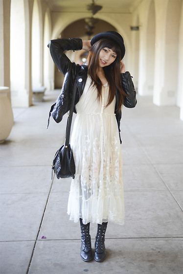 Rae Tilly - Urban Outfitters Hat, H&M Leather Jacket, Nasty Gal Leather Bag, Free People Lacy Dress, Beyond Retro Vintage Boots - Lunch at prado