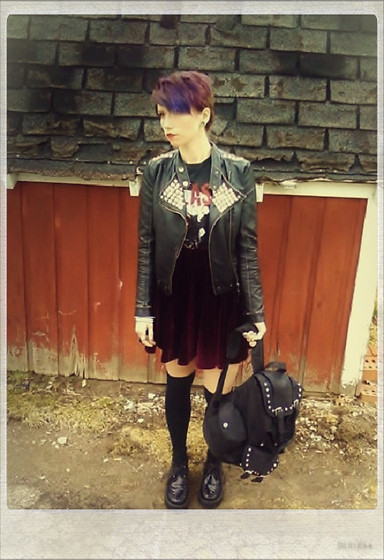 Amanda Carroll - Jacket, Thrifted Clash Shirt, Romwe Skirt - Who cares if you're alive or not?
