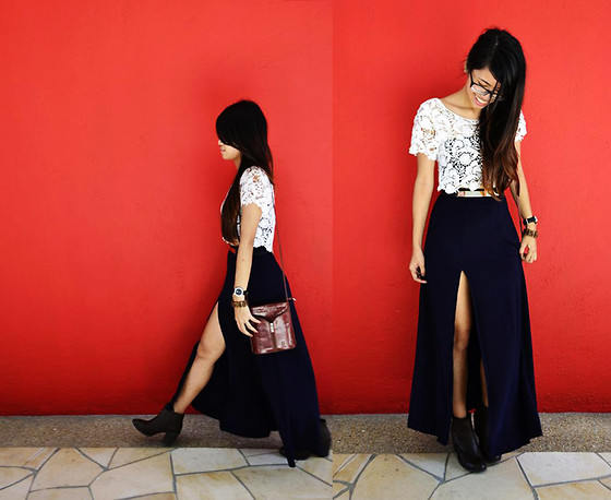 Elreena N. - Bangkok Crochet Cropped Top, Diy Maxi Slit Skirt, H&M Leather Boots, Leather Bucket Bag - I Feel Like A Hippie.