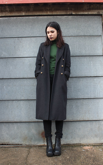 Cristina C - River Island Man Coat, Green Turtle Neck, Black Jeans, H&M Boots - Man Up