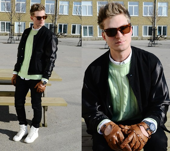 Robin Nilsson - Weekday Jacket, H&M Gloves, Gant Sweater, Acne Studios Jeans, Zara Shoes, London Shades, Thomas Sabo Watch - White and mint