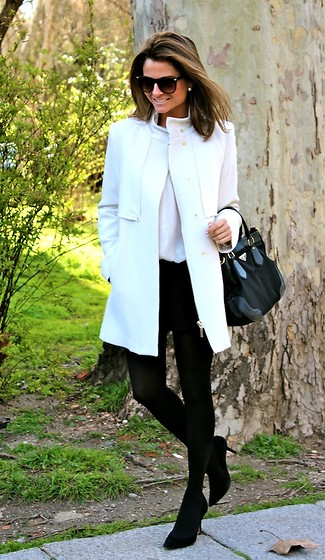 Silvia Garcia Blanco - Mango Sunglasses, Mango Coat, Suite 210 Necklace, Prada Bag, Forever 21 Shorts, Pilar Burgos Shoes, Zara Blouse - New Coat / Abrigo Nuevo