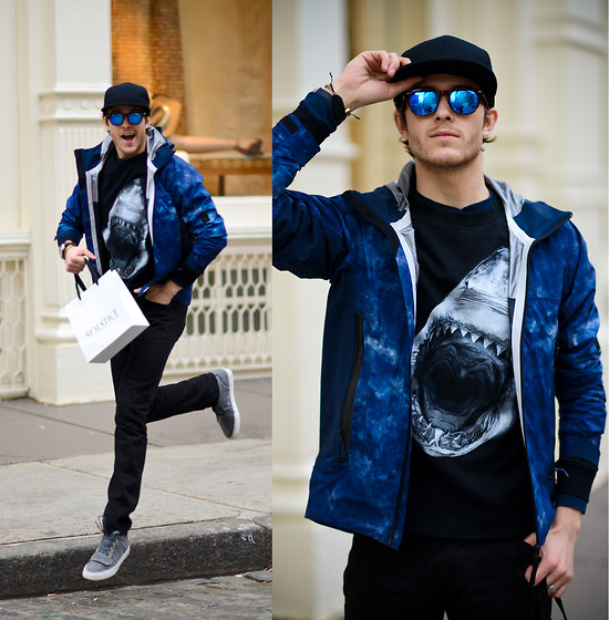 Adam Gallagher - Sunglasses, Shark Sweater, Isaora Jacket, Creative Recreation Shoes - Shark in the water !