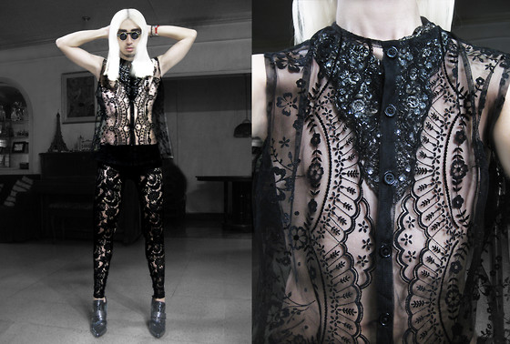 Andre Judd - Gerry Katigbak Lace Vest, Joel Escober Bejewelled Neckpiece (Worn Under), Lace Trousers, Pointed Toe Patent Booties - AGENT PROVOCATEUR