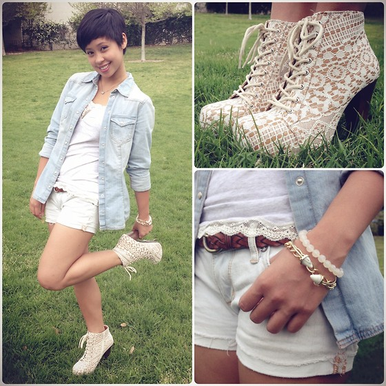 Sassy Cuna - H&M Denim Shirt, Abercrombie & Fitch Lace Top, Pacsun Denim Shorts, Charlotte Russe Lace Booties, Tilly's Armcandy - Never Go Wrong With Lace & Denim