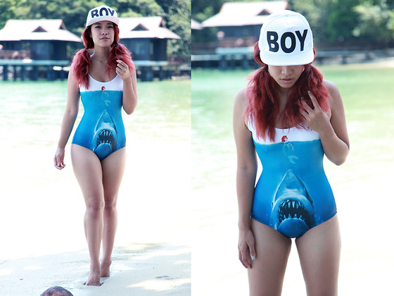 Nün Stannard - Boy London Hat, Black Milk Clothing Swim - SHARKIE