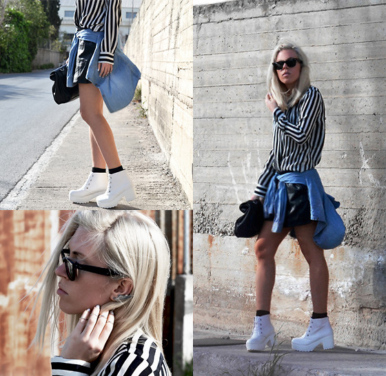 Dena T. - Oasap Platform Ankle Boots, Oasap Faux Leather Shorts, H&M Denim Shirts, Zara Striped Blouse, Zara Lunch Bag, Oasap Wing Shape Single Ear Cuff - I'll spread my wings and I'll learn how to fly